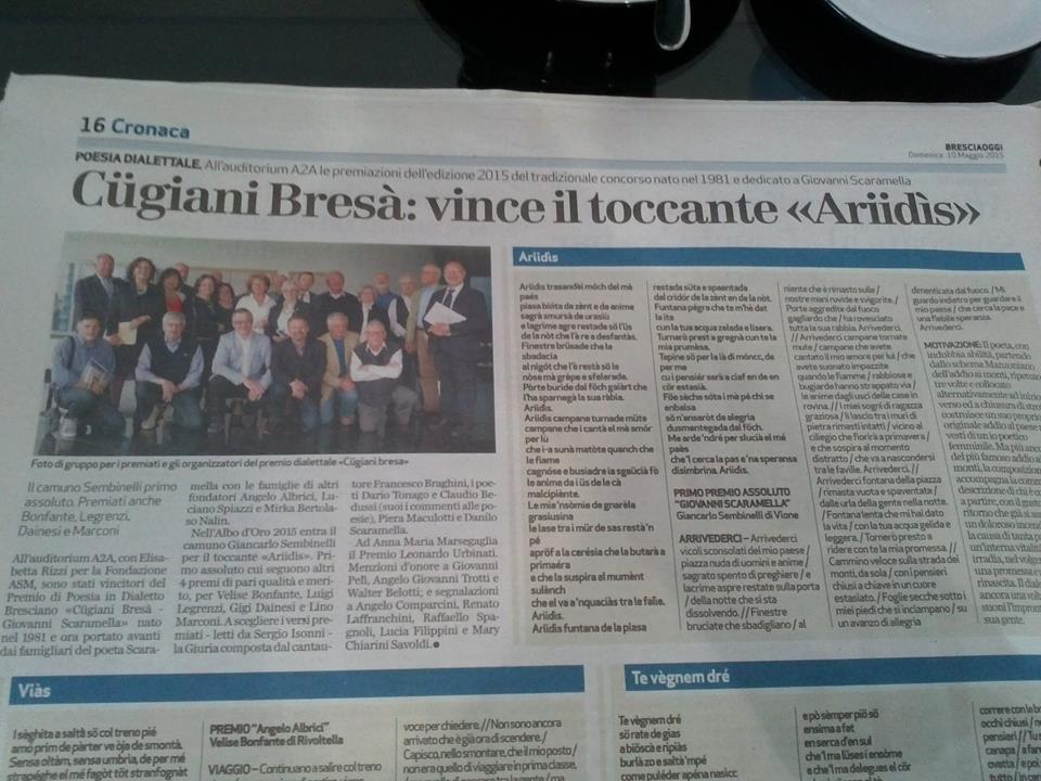 """Premio di Poesia in Dialetto Bresciano """"Cügiani Bresà - Giovanni Scaramella"""""""
